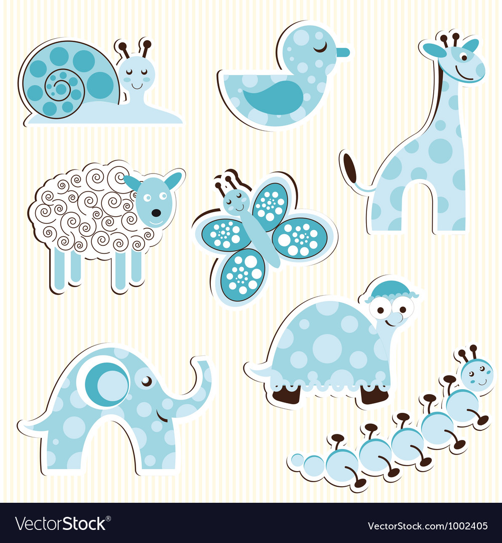 Set of fun zoo for a boy vector | Price: 1 Credit (USD $1)