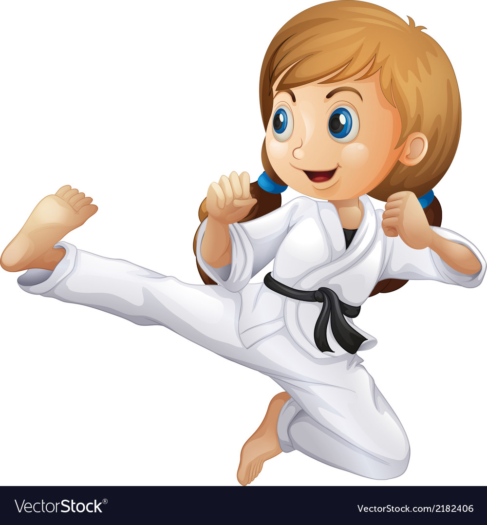 A young girl doing karate vector | Price: 1 Credit (USD $1)