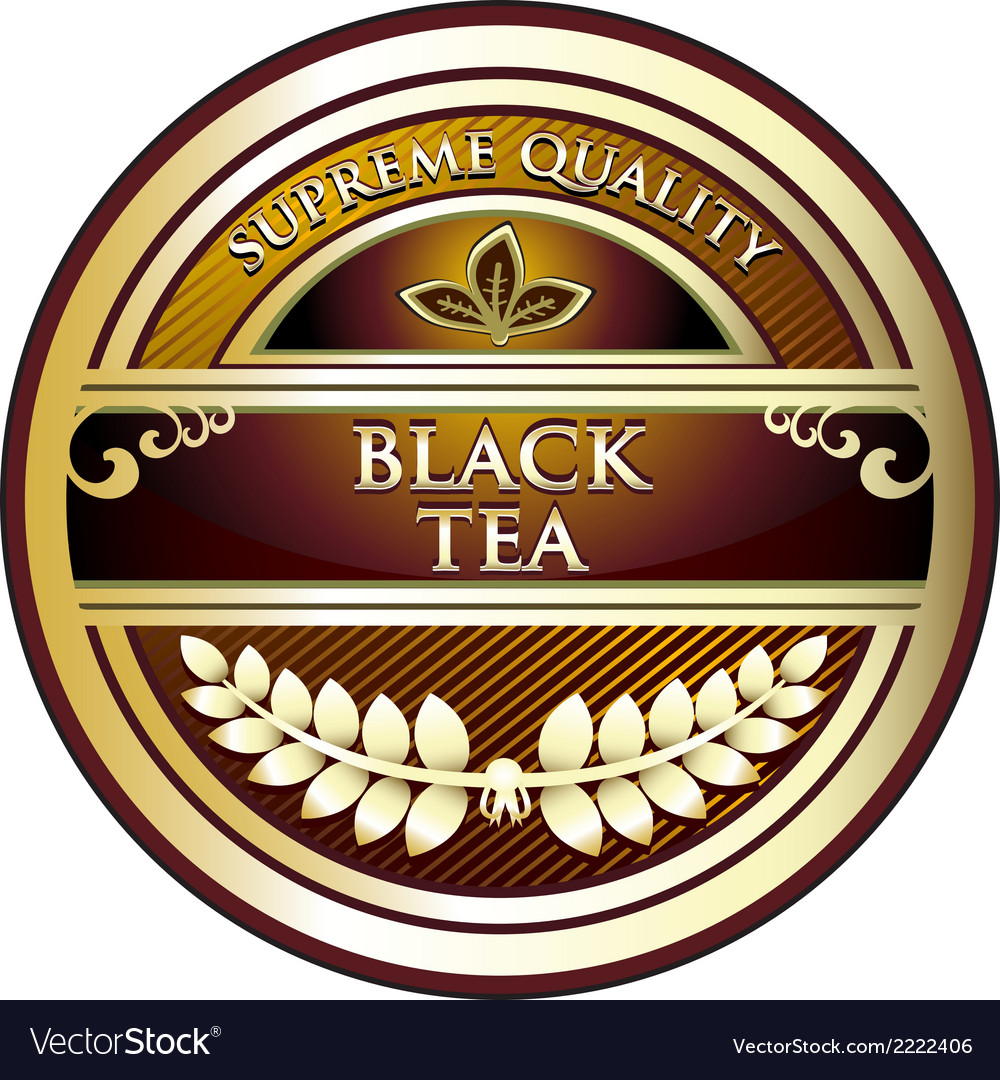Black tea vintage label vector | Price: 1 Credit (USD $1)