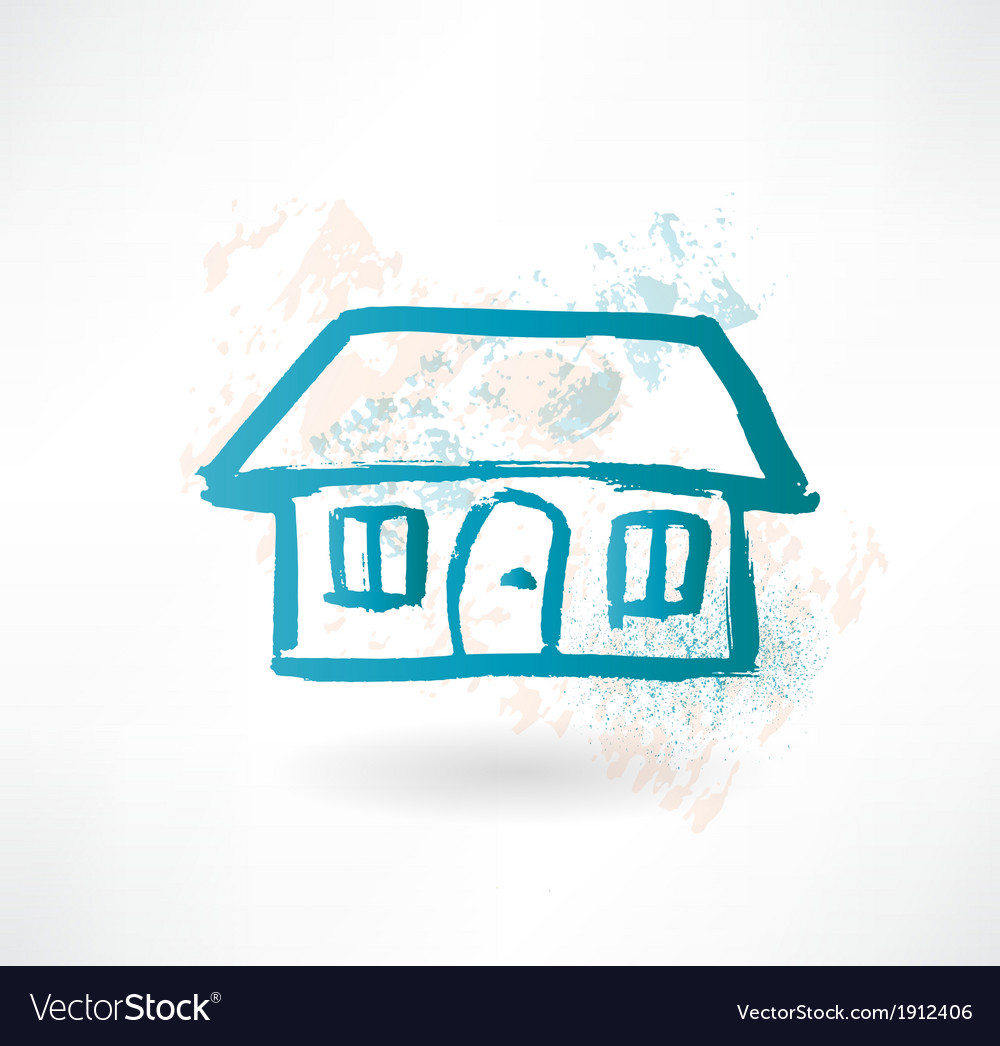 Blue cartoon house brush icon vector | Price: 1 Credit (USD $1)