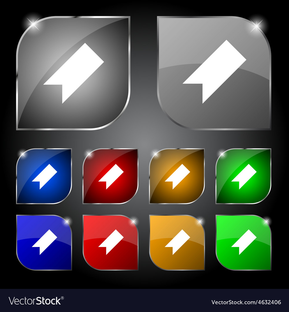 Bookmark icon sign set of ten colorful buttons vector | Price: 1 Credit (USD $1)