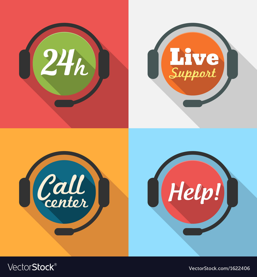 Call center customer service support flat icon set vector | Price: 1 Credit (USD $1)