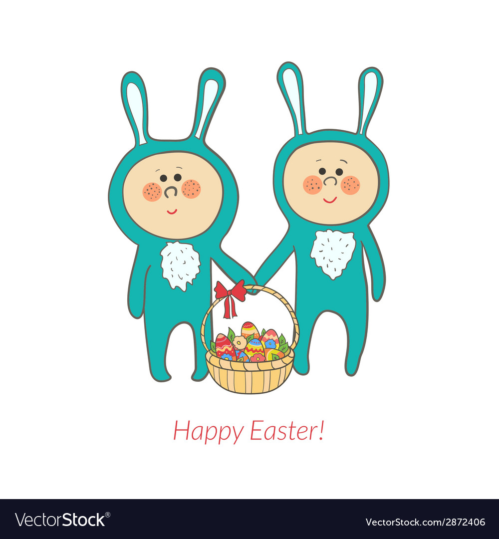 Cute bunnies with a basket in hand with eggs vector | Price: 1 Credit (USD $1)