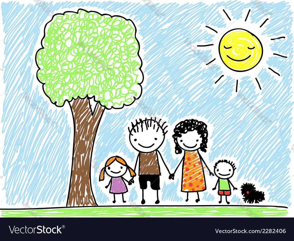 Doodle family vector | Price: 1 Credit (USD $1)