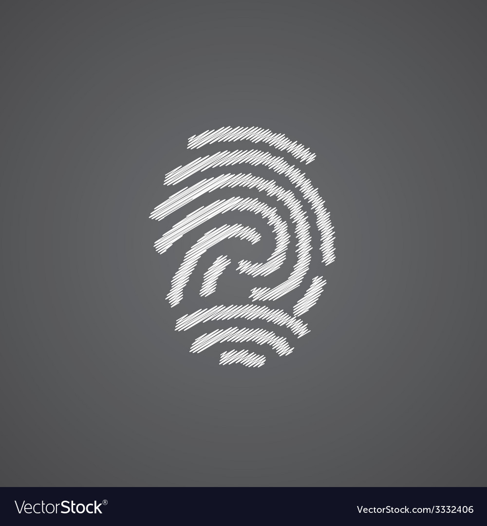 Fingerprint sketch logo doodle icon vector | Price: 1 Credit (USD $1)