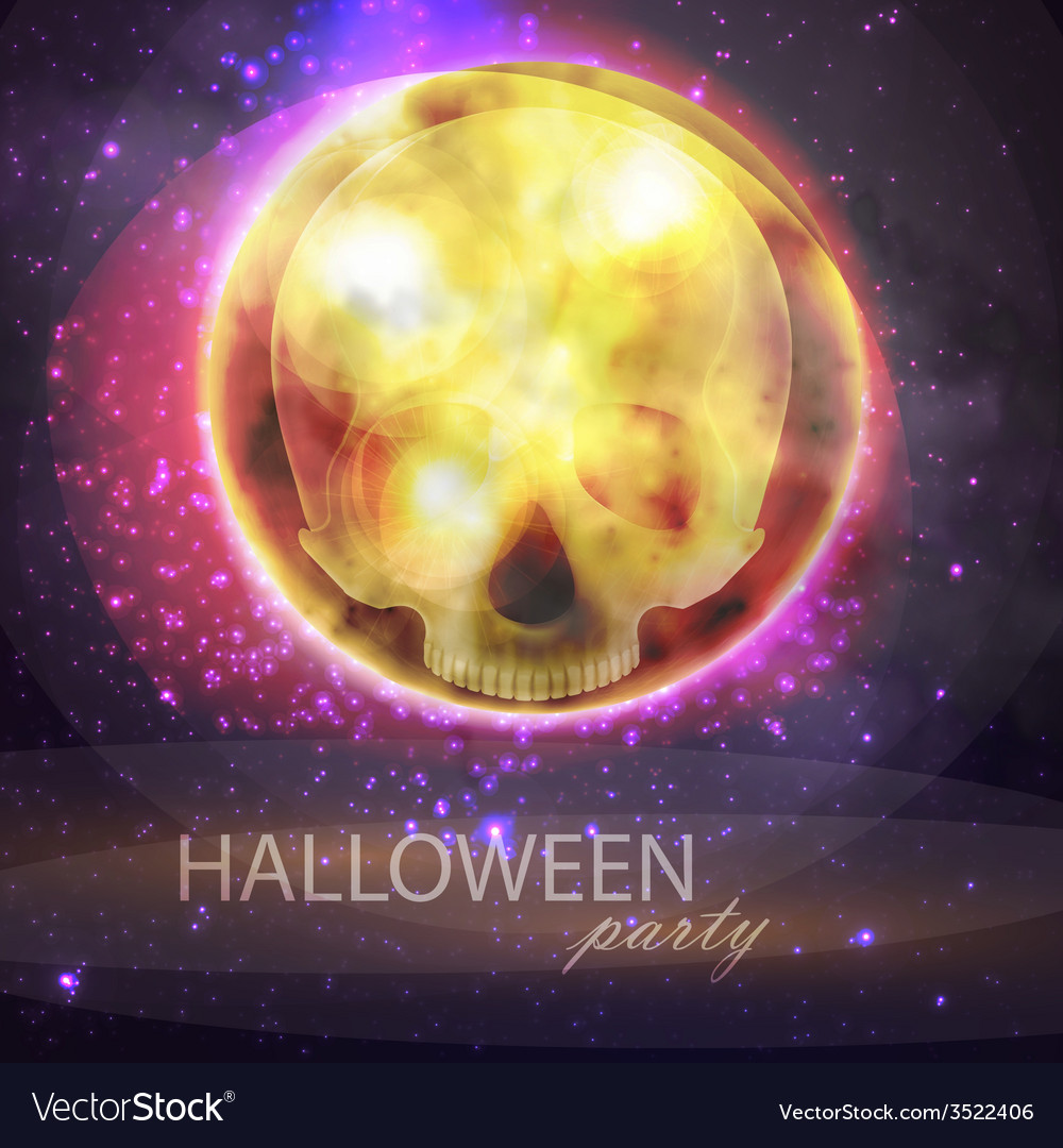 Halloween with full moon and skull on the night vector | Price: 1 Credit (USD $1)
