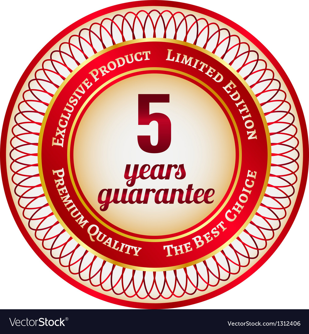 Label on 5 year guarantee vector | Price: 1 Credit (USD $1)