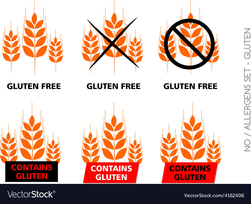 Orange gluten free signs isolated on white vector | Price: 1 Credit (USD $1)