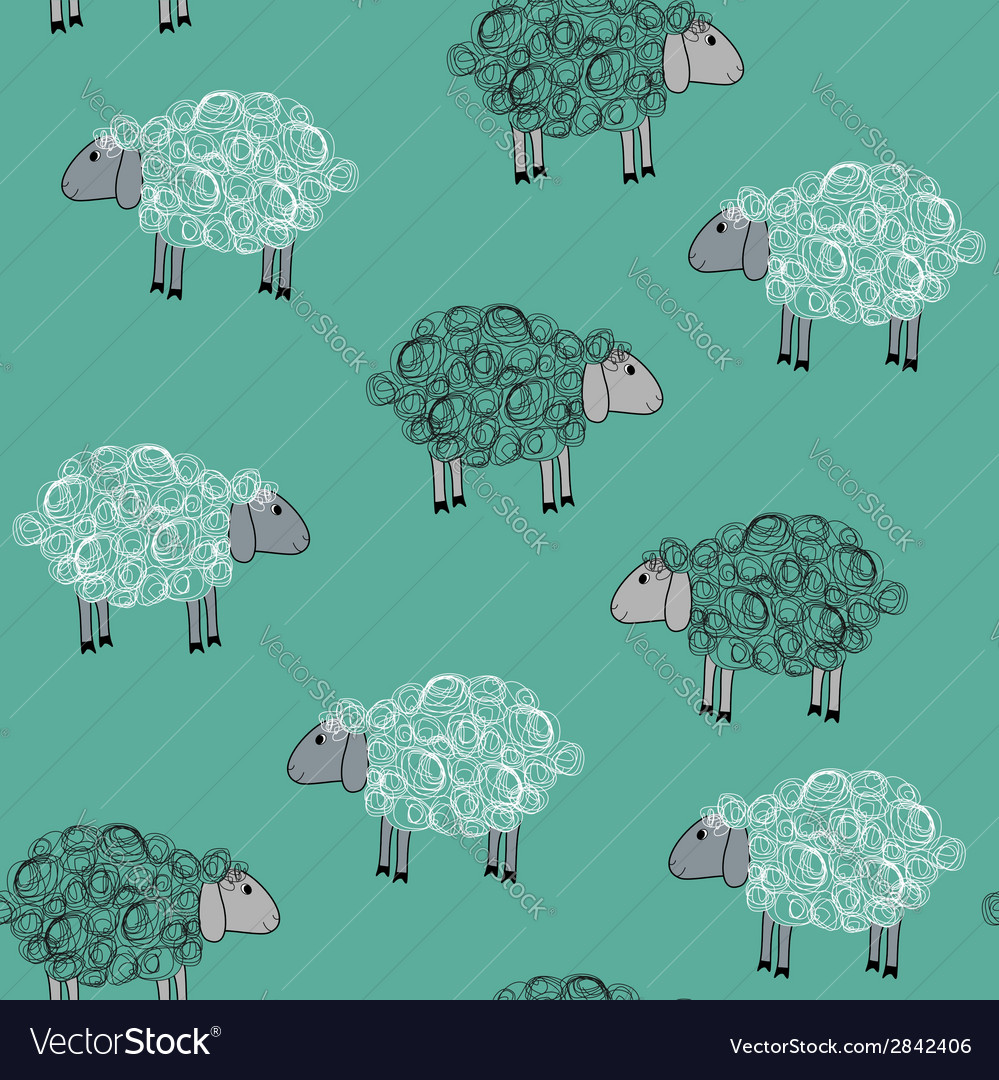 Seamless pattern with sheeps vector | Price: 1 Credit (USD $1)