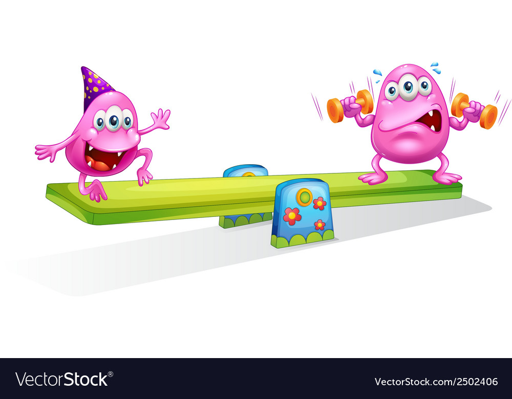 Two pink monsters playing with the seesaw vector | Price: 1 Credit (USD $1)