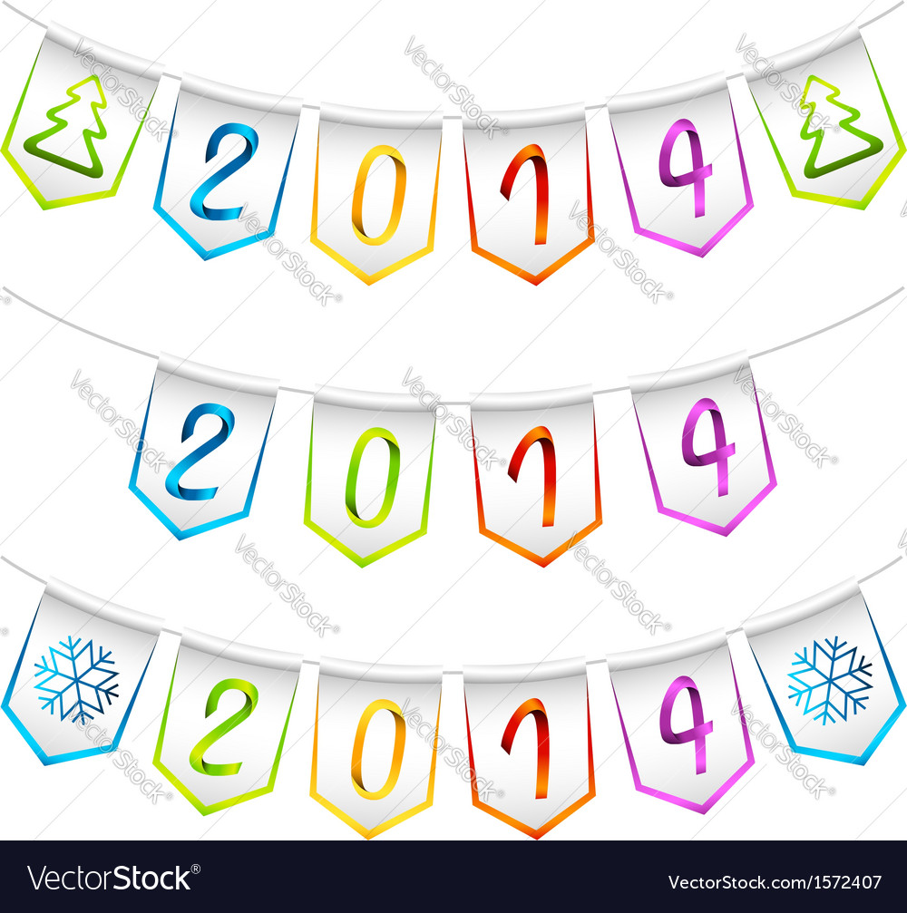 2014 isolated bunting flags decoration elements vector | Price: 1 Credit (USD $1)