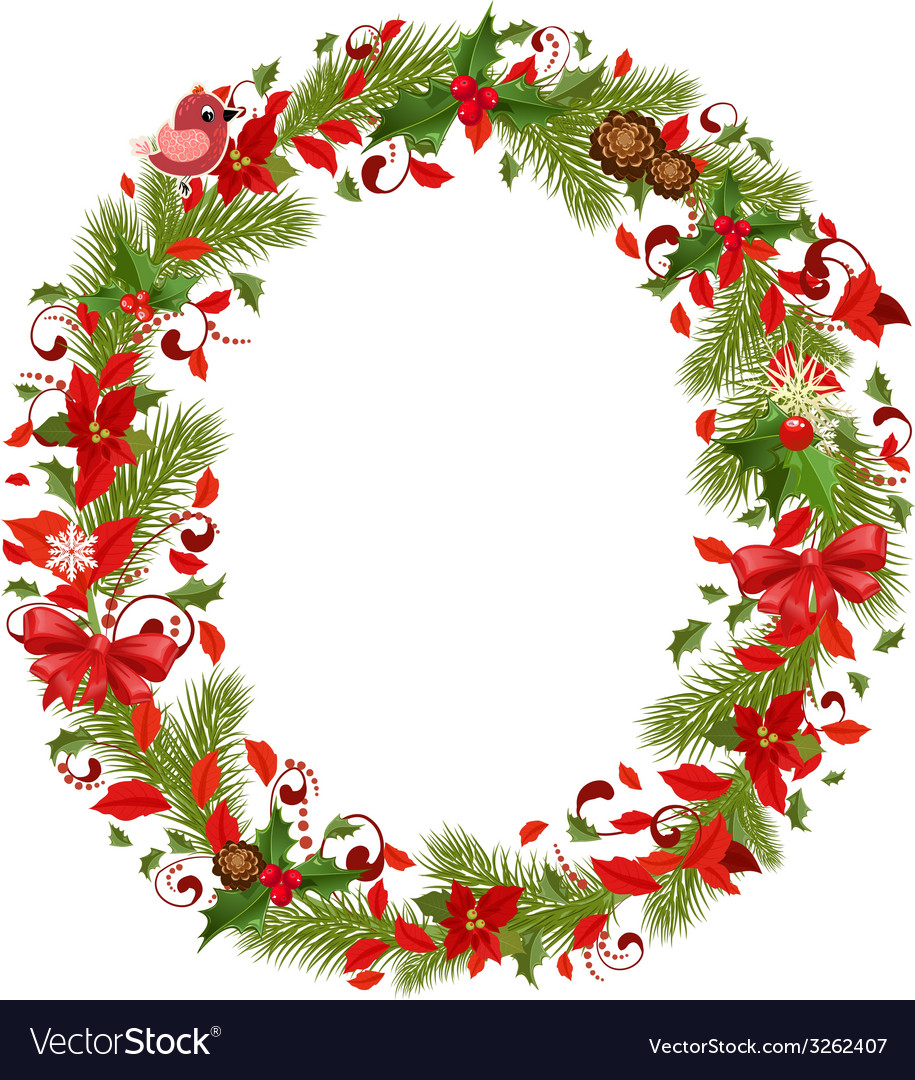 Christmas floral tree letter o vector | Price: 1 Credit (USD $1)