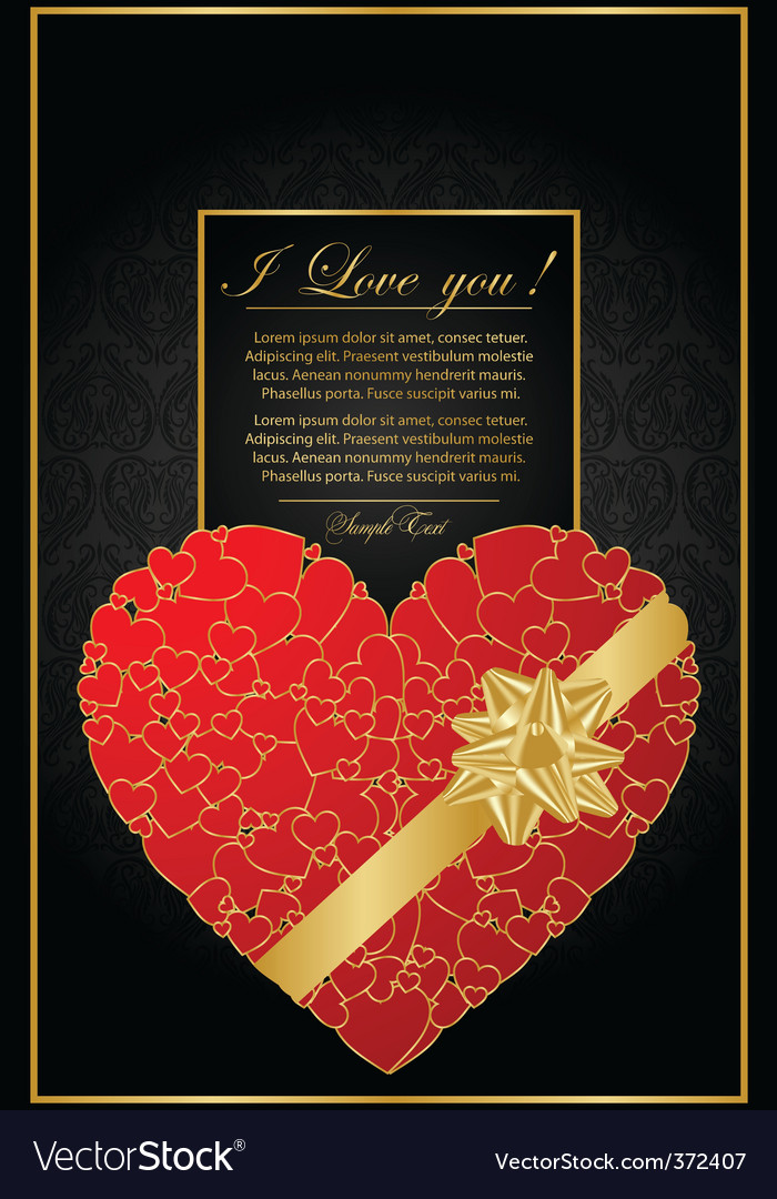 Golden valentine background with heart vector | Price: 1 Credit (USD $1)