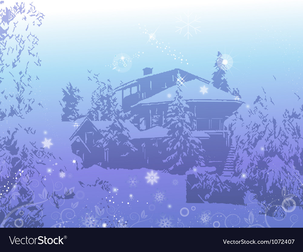 The house of a snowy mountains winter season back vector | Price: 1 Credit (USD $1)