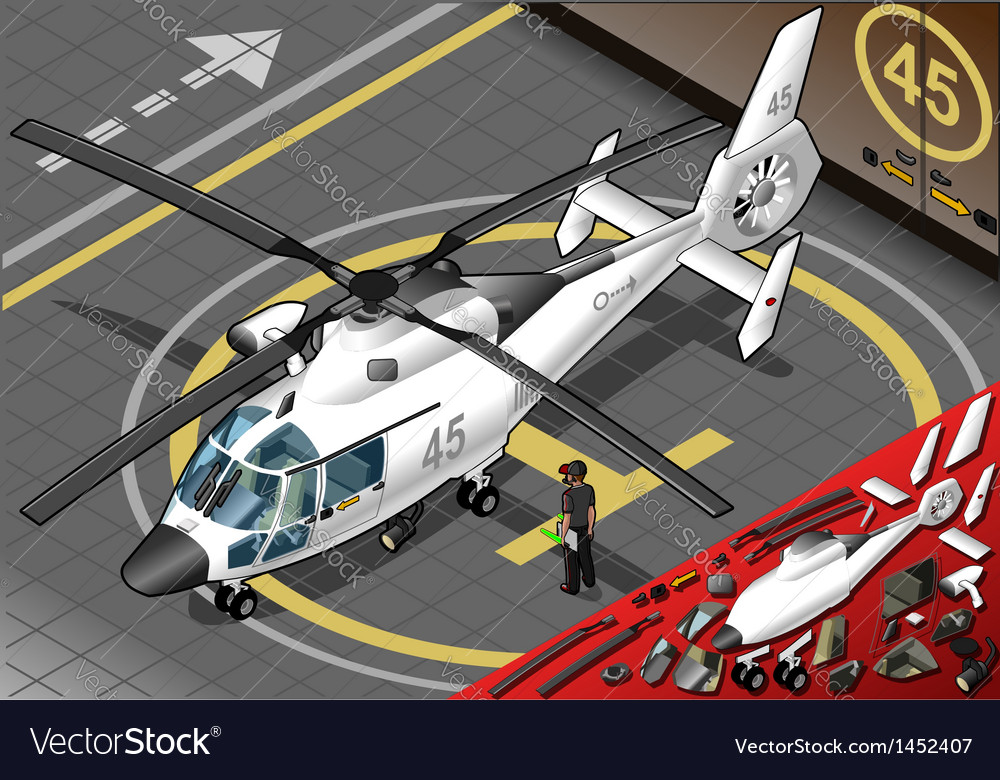 Isometric white helicopter landed in front view vector | Price: 1 Credit (USD $1)