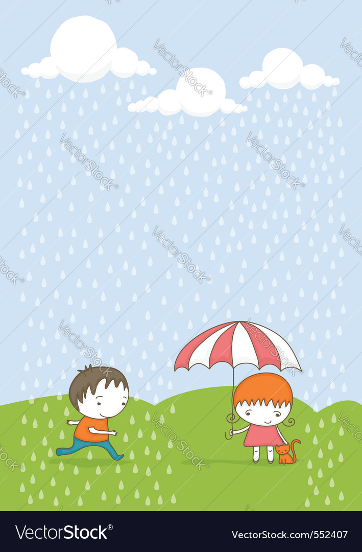Kids in the rain cartoon vector | Price: 1 Credit (USD $1)