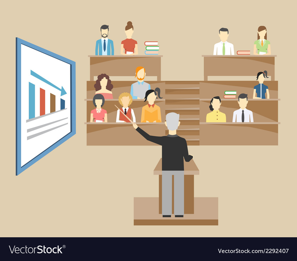 Professor lecturing to students at university vector | Price: 1 Credit (USD $1)