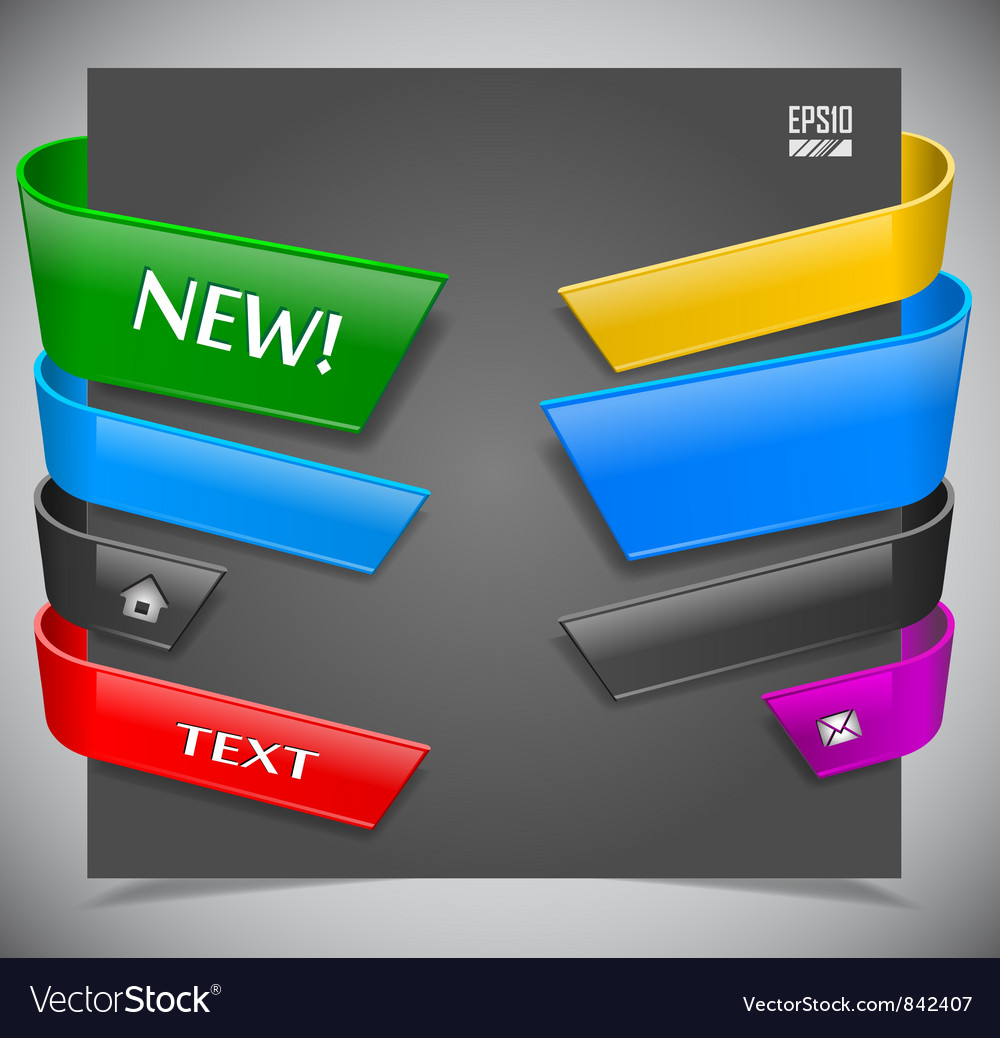 Set of color plastic ribbons vector | Price: 1 Credit (USD $1)