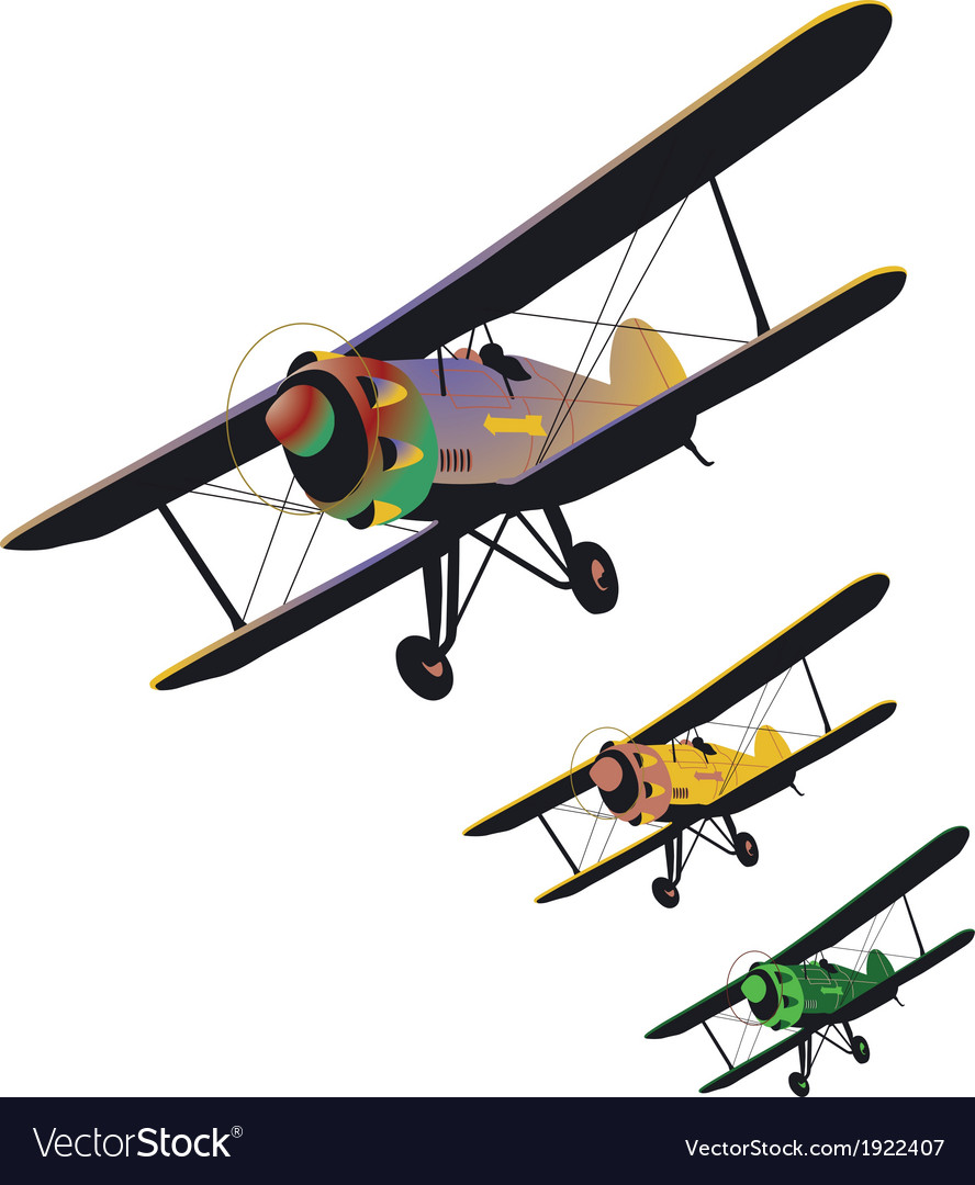 Set of old biplane vector | Price: 1 Credit (USD $1)