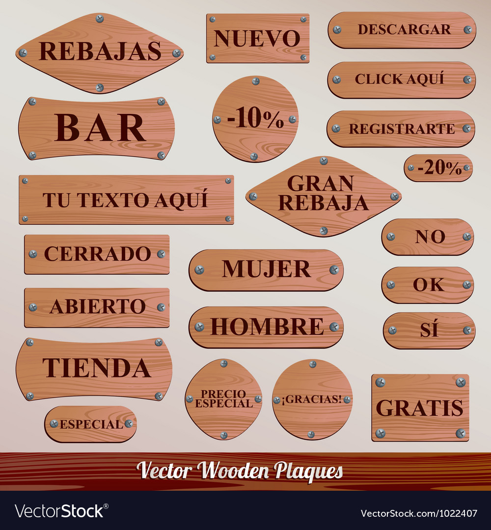 Set wooden plaque spanish vector | Price: 1 Credit (USD $1)