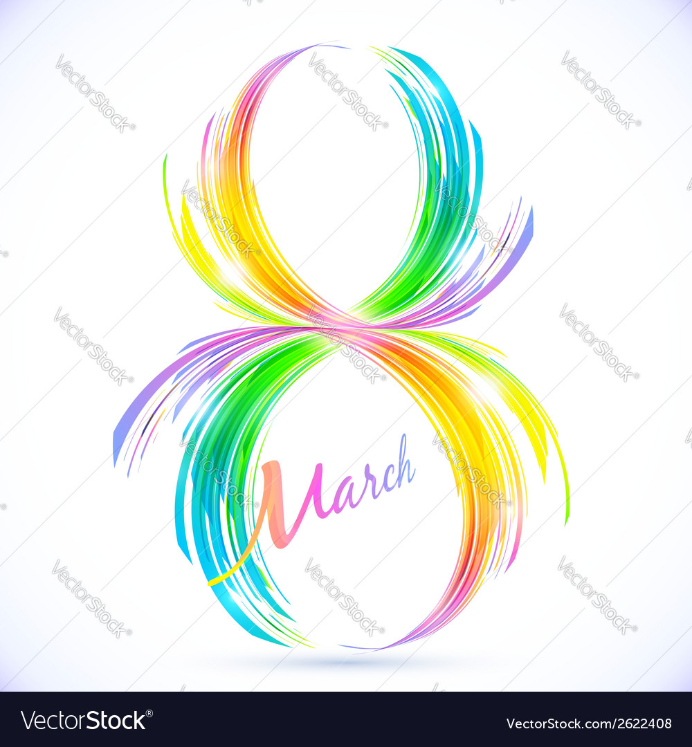 Abstract rainbow splashes 8 march greeting card vector | Price: 1 Credit (USD $1)