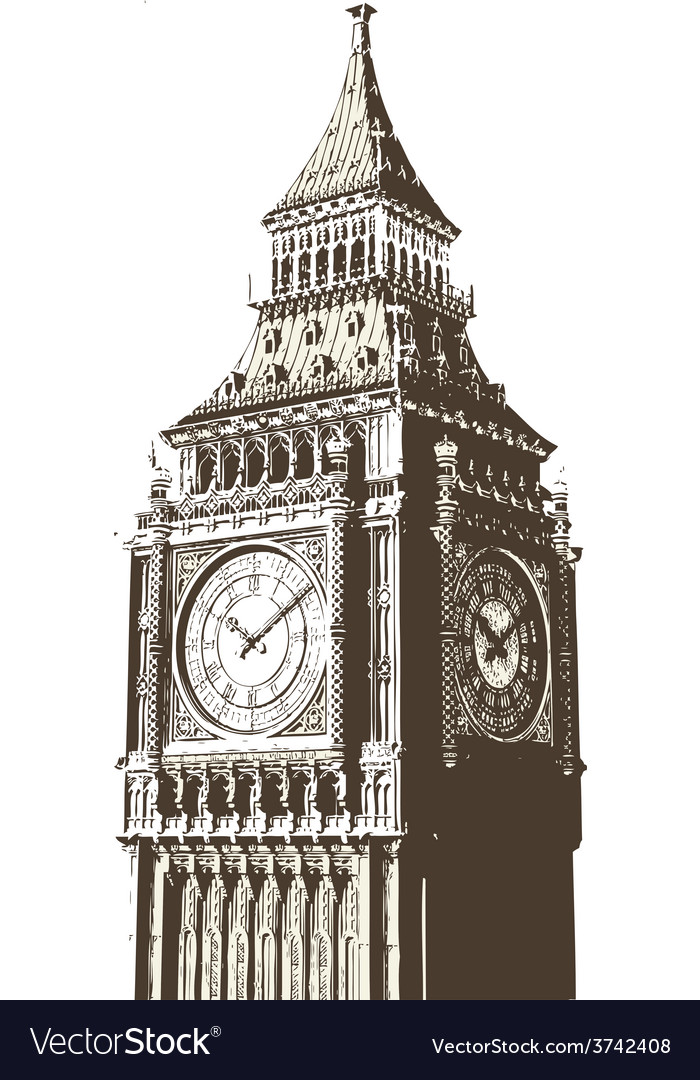 Clock tower vector | Price: 1 Credit (USD $1)