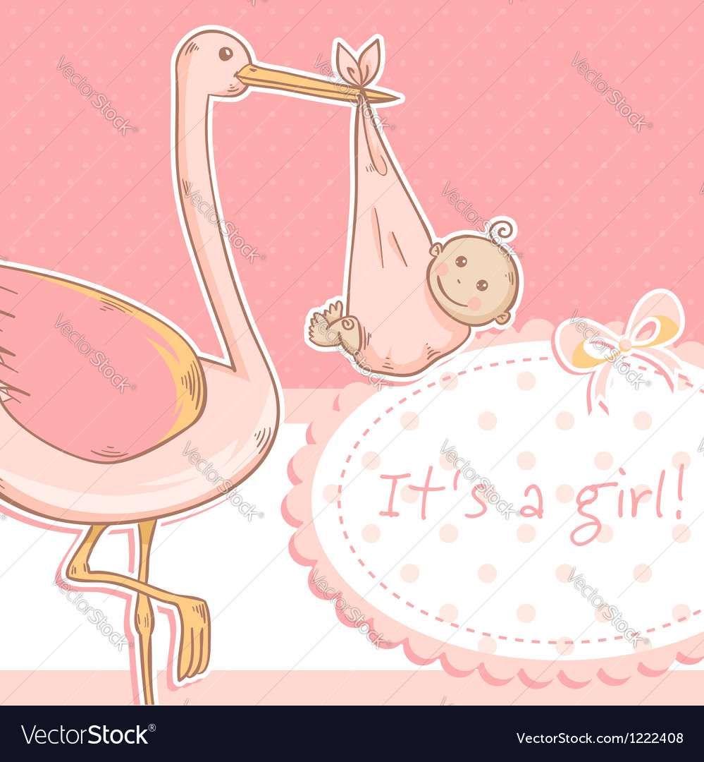 Cute baby girl announcement card with stork vector | Price: 1 Credit (USD $1)
