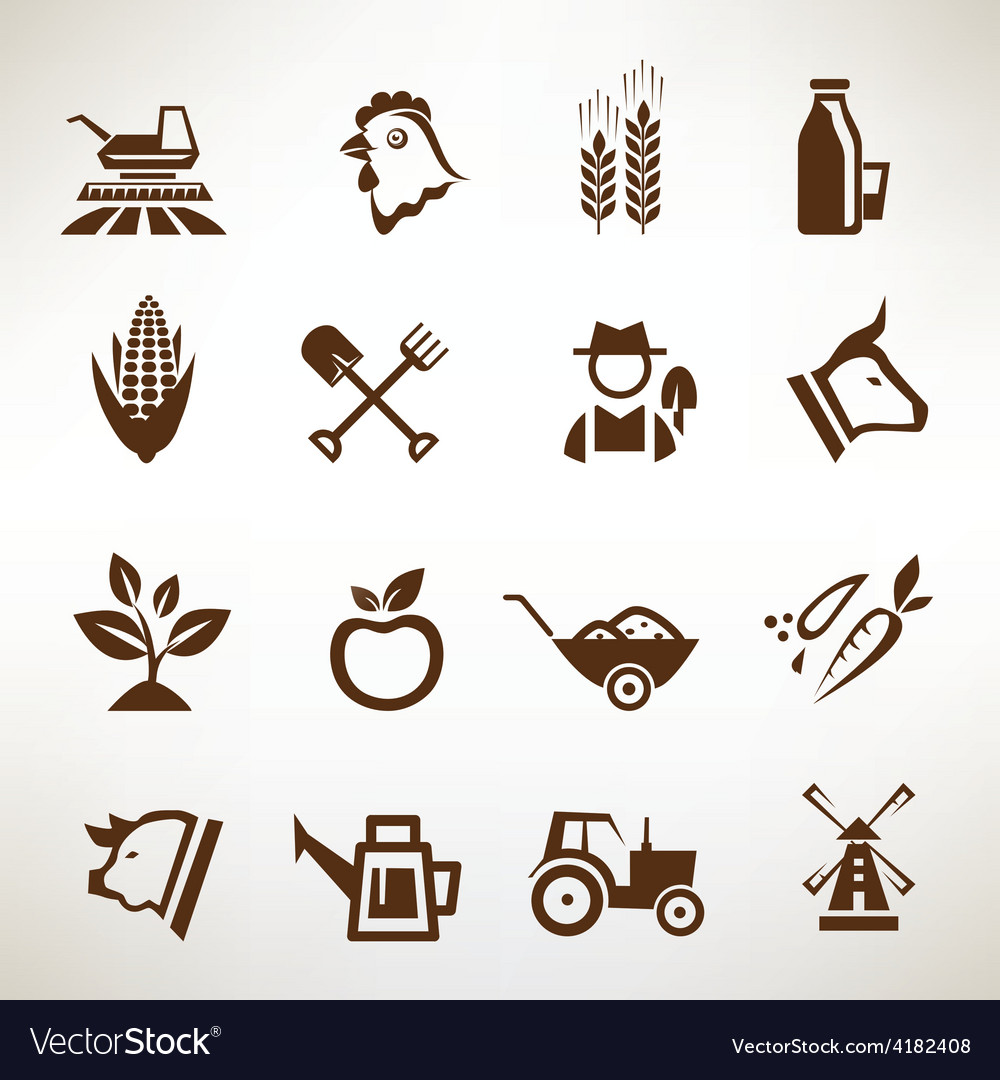 Farm and agriculture icons collection vector | Price: 1 Credit (USD $1)
