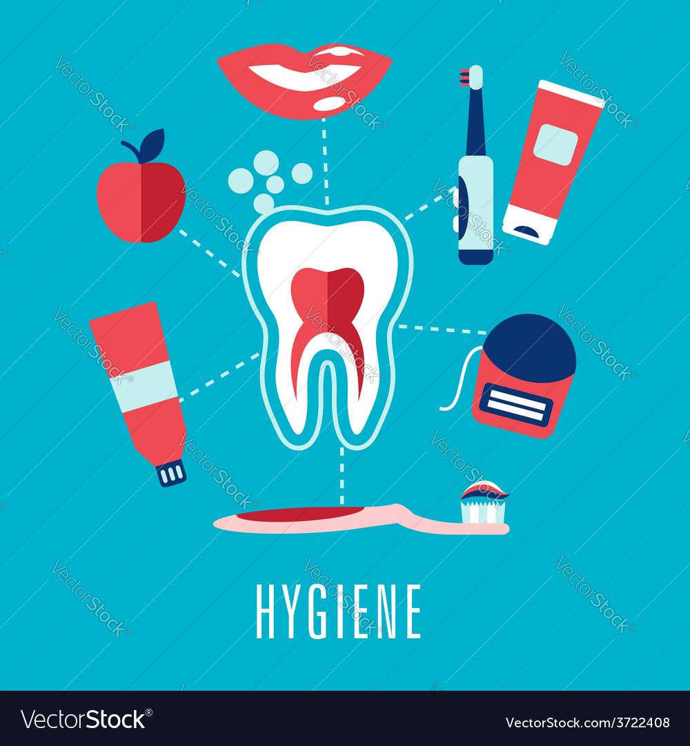 Flat dental hygiene concept in blue background vector | Price: 1 Credit (USD $1)