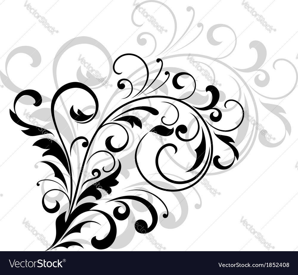 Floral design element with swirling leaves vector | Price: 1 Credit (USD $1)