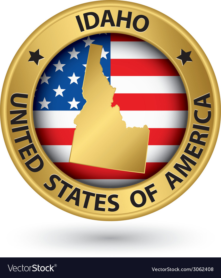 Idaho state gold label with state map vector | Price: 1 Credit (USD $1)