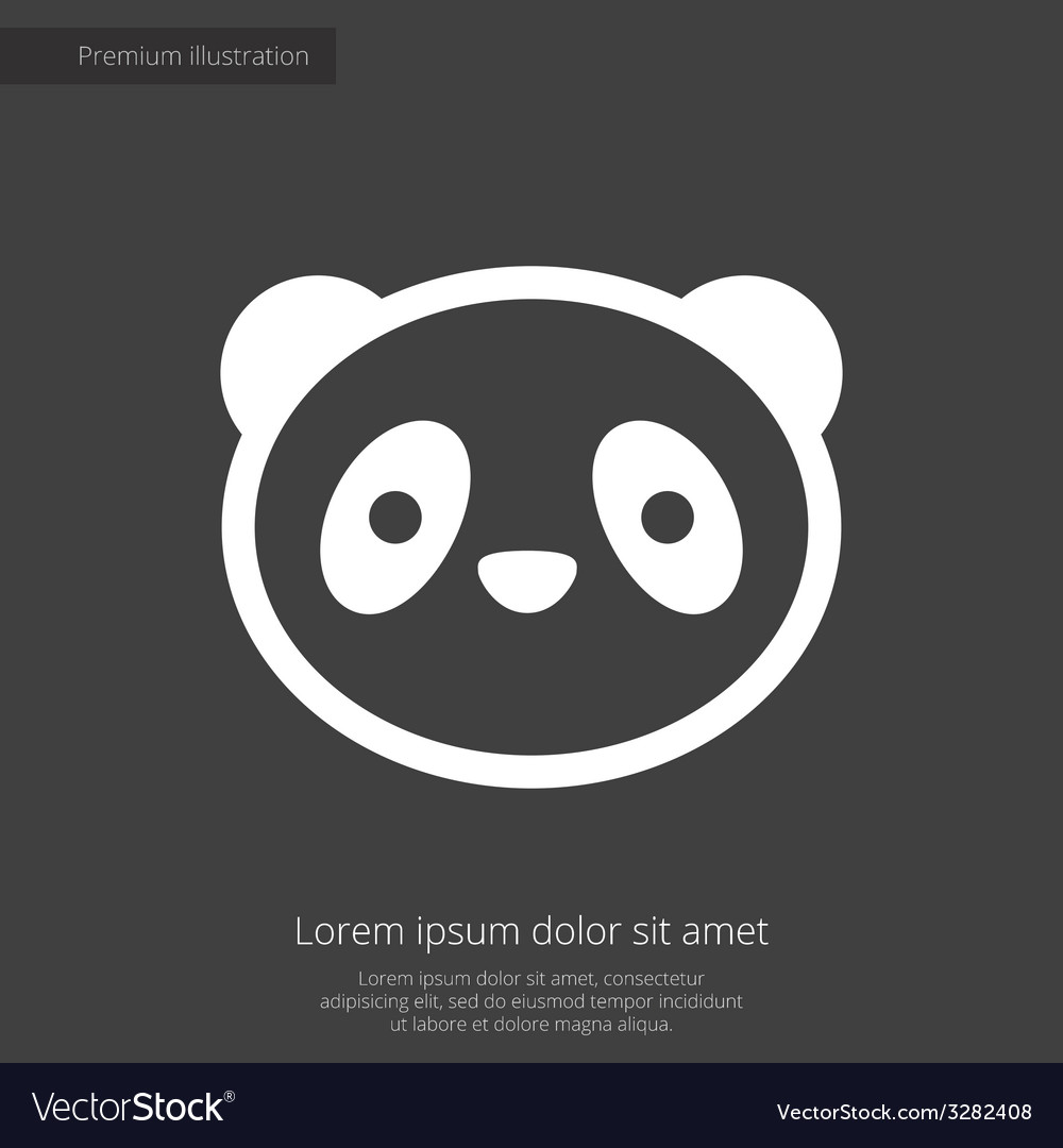 Panda premium icon white on dark background vector | Price: 1 Credit (USD $1)