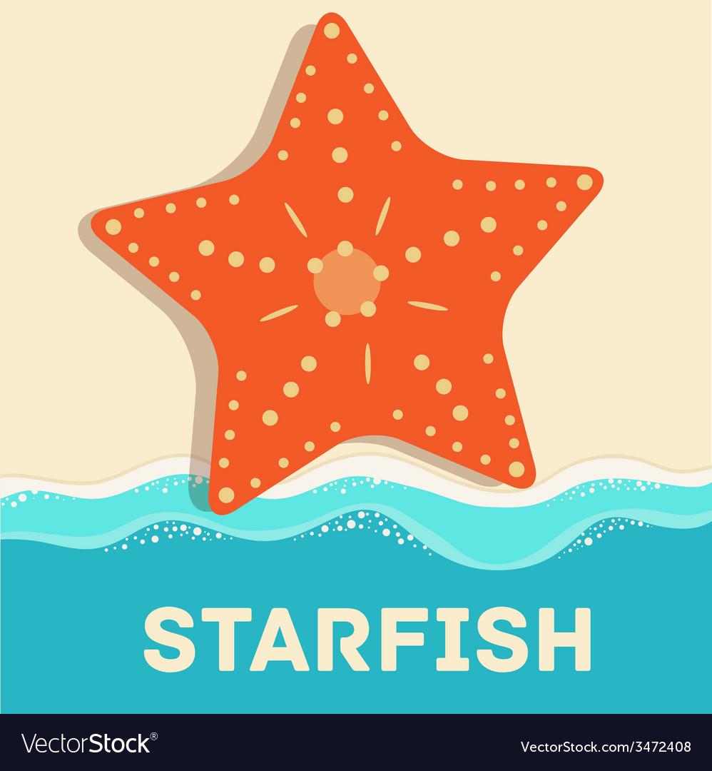 Retro flat starfish icon concept design vector | Price: 1 Credit (USD $1)