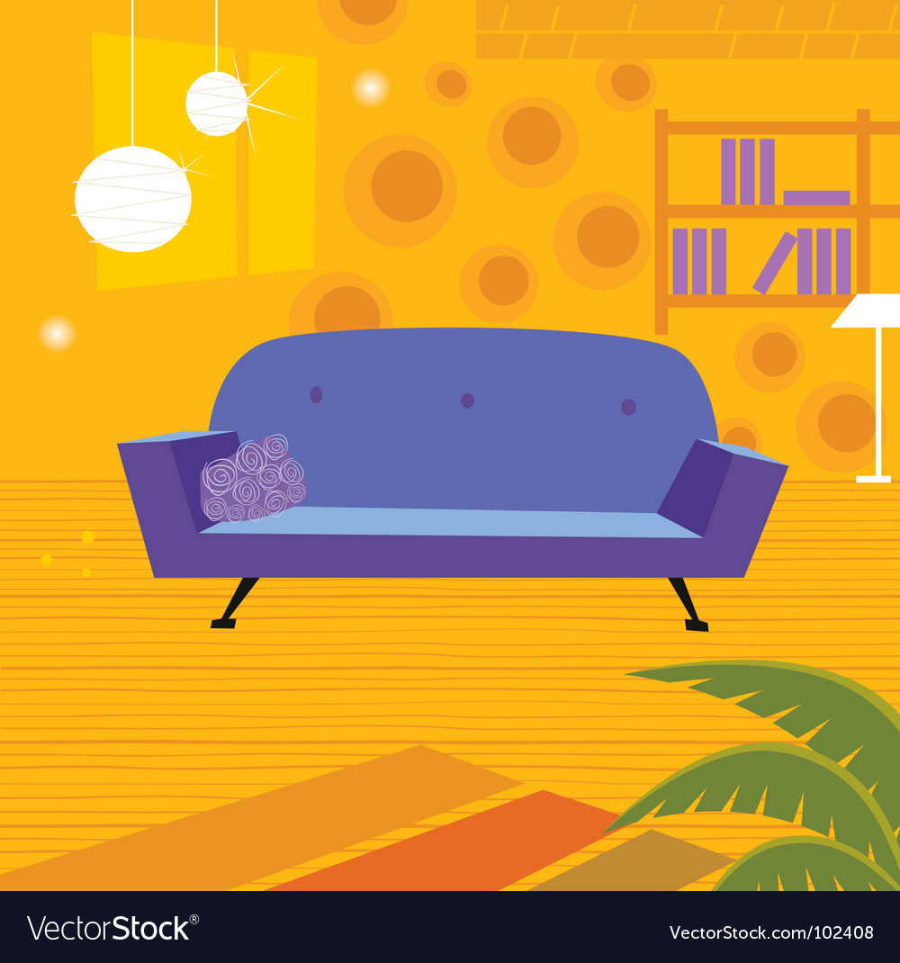 Retro living room vector | Price: 1 Credit (USD $1)