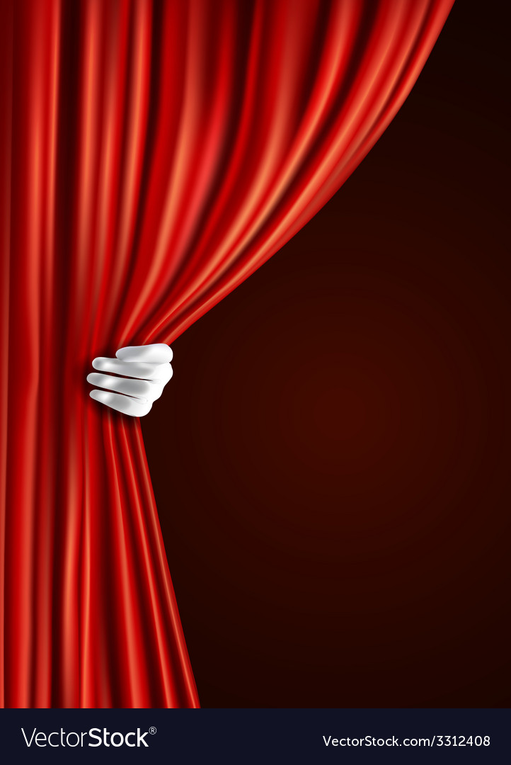 Theater curtain with hand vector | Price: 1 Credit (USD $1)