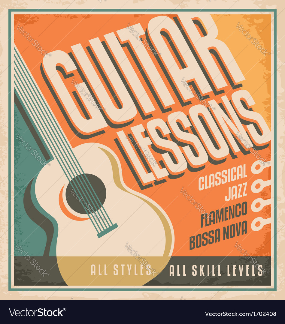 Vintage poster design for guitar lessons vector | Price: 1 Credit (USD $1)