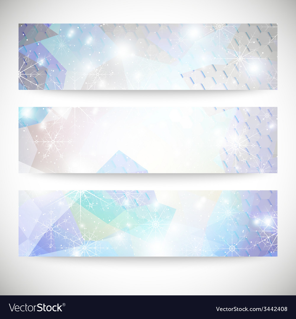 Winter backgrounds set with snowflakes abstract vector | Price: 1 Credit (USD $1)
