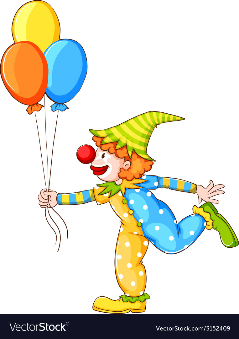 A sketch of a clown holding three balloons vector | Price: 1 Credit (USD $1)