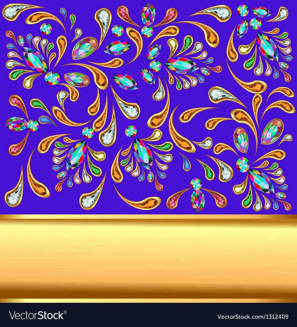 Background with precious stones and gold band vector | Price: 1 Credit (USD $1)