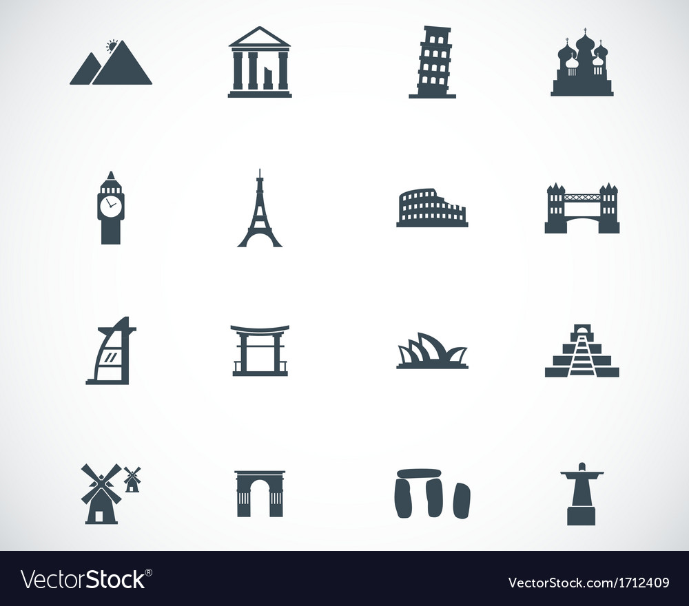 Black landmark icons set vector | Price: 1 Credit (USD $1)