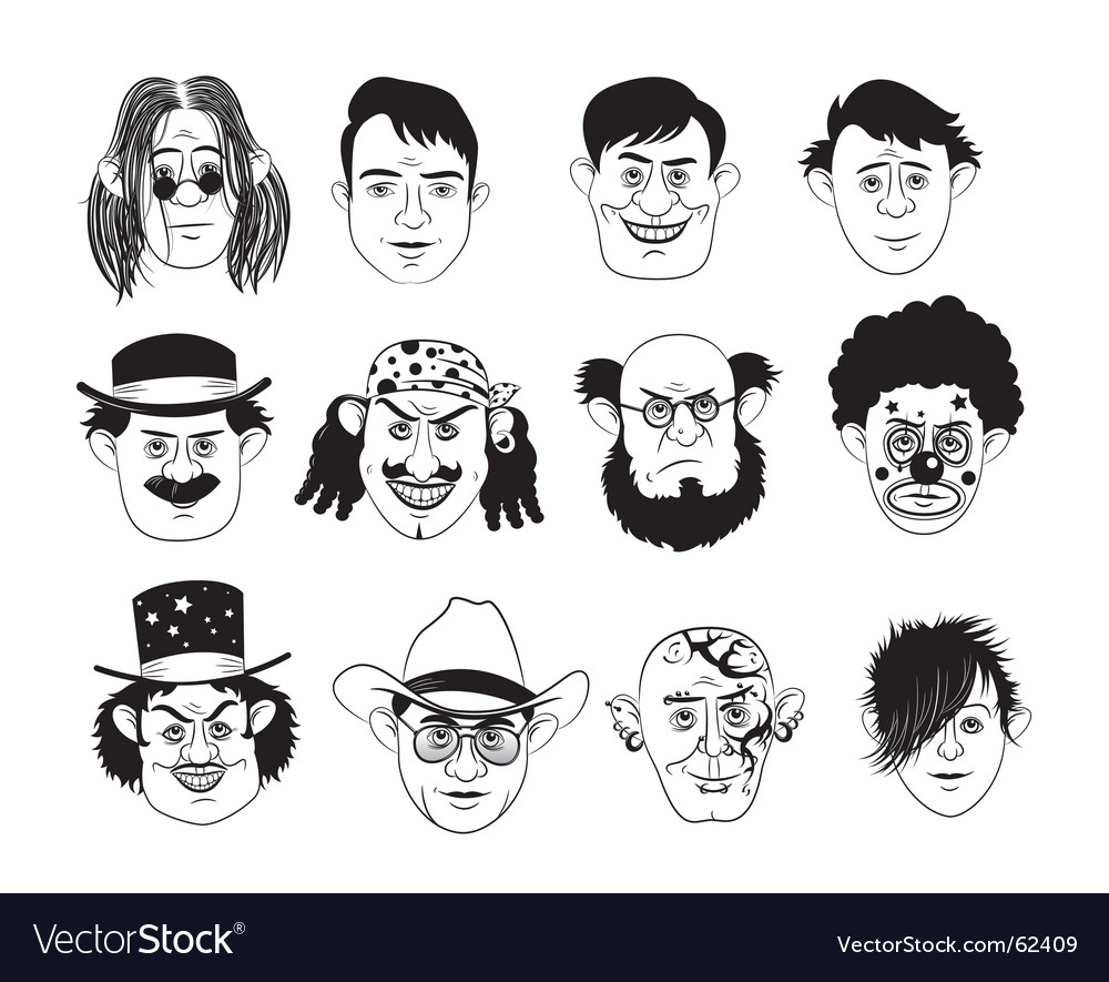 Man's faces vector | Price: 3 Credit (USD $3)