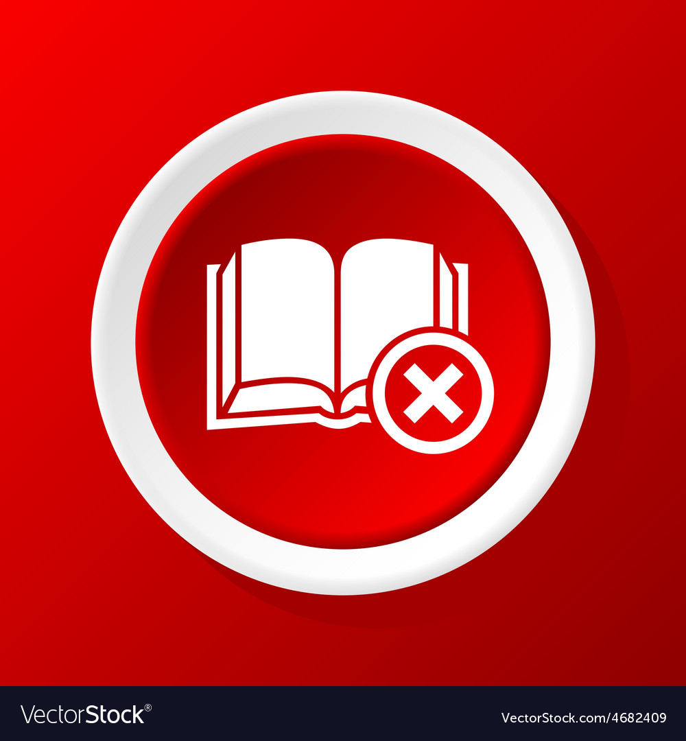 Remove book icon on red vector | Price: 1 Credit (USD $1)