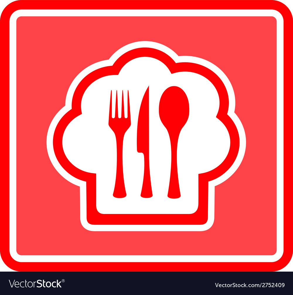 Restaurant icon on red background vector | Price: 1 Credit (USD $1)