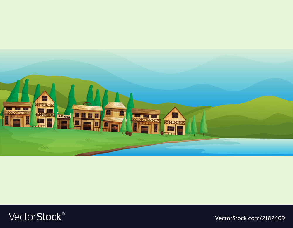 Saloon bars near the river vector | Price: 1 Credit (USD $1)