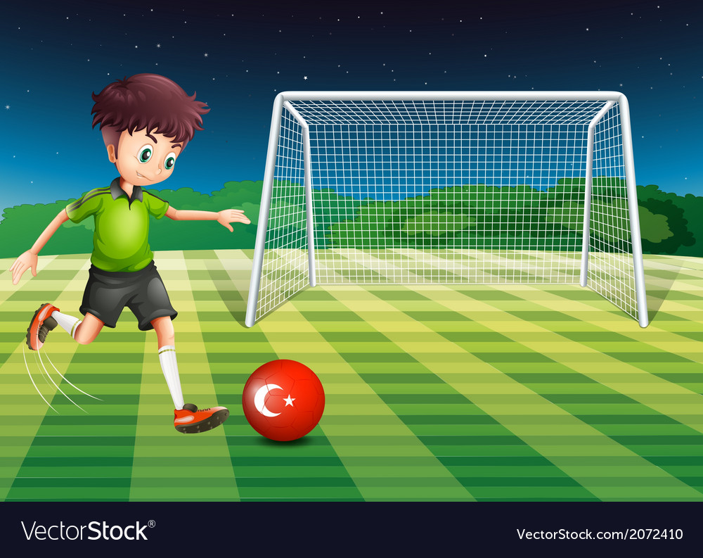 A boy kicking the ball at the field with the flag vector | Price: 1 Credit (USD $1)