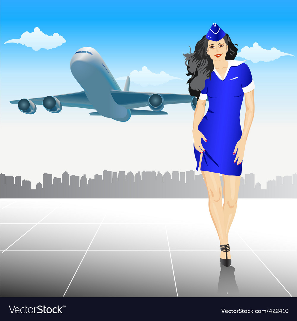 Beautiful stewardess at the airport vector | Price: 1 Credit (USD $1)