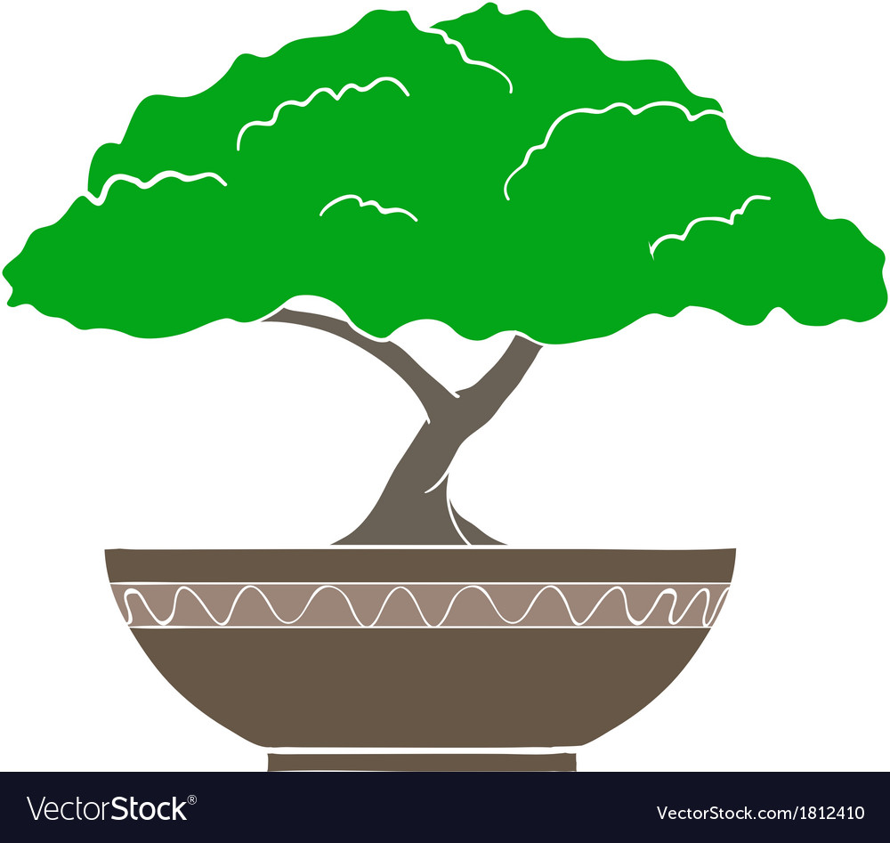 Colorful bonsai tree isolated on white background vector | Price: 1 Credit (USD $1)