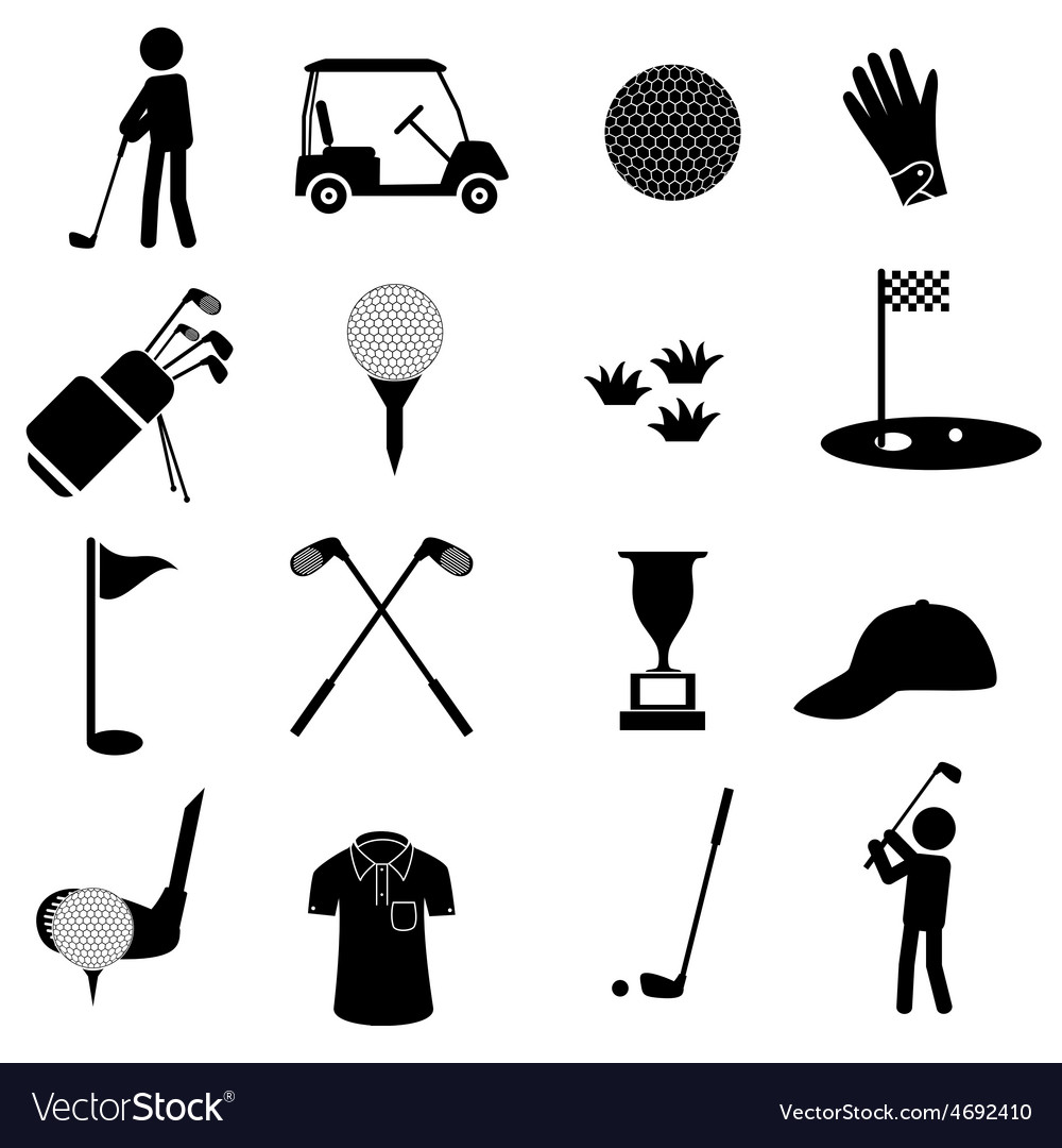 Golf sport simple black icons set eps10 vector | Price: 1 Credit (USD $1)