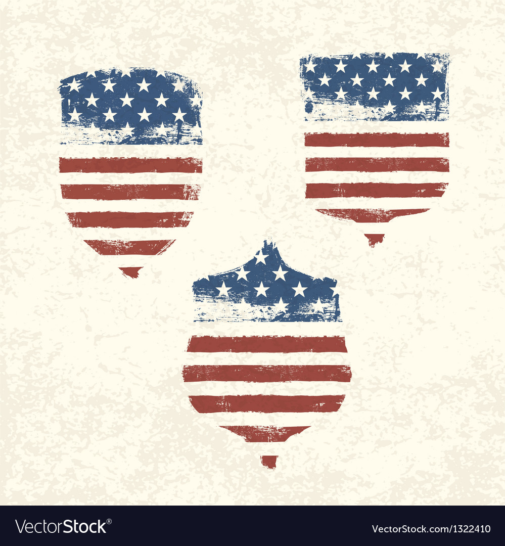 Shield shaped american flag set vector | Price: 1 Credit (USD $1)