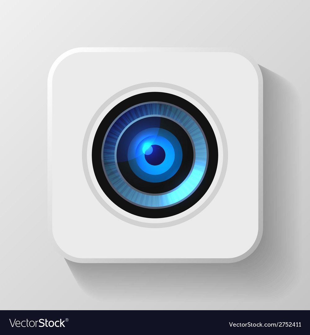 Blue camera lens icon on white vector | Price: 1 Credit (USD $1)